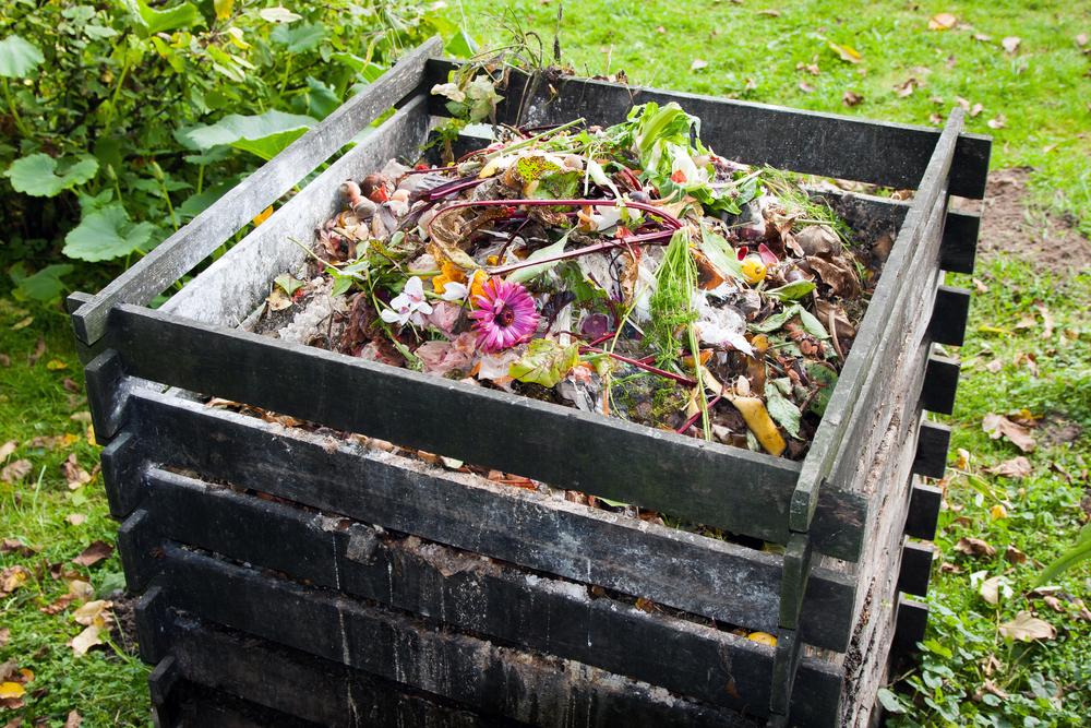 Bac à compost dans le jardin